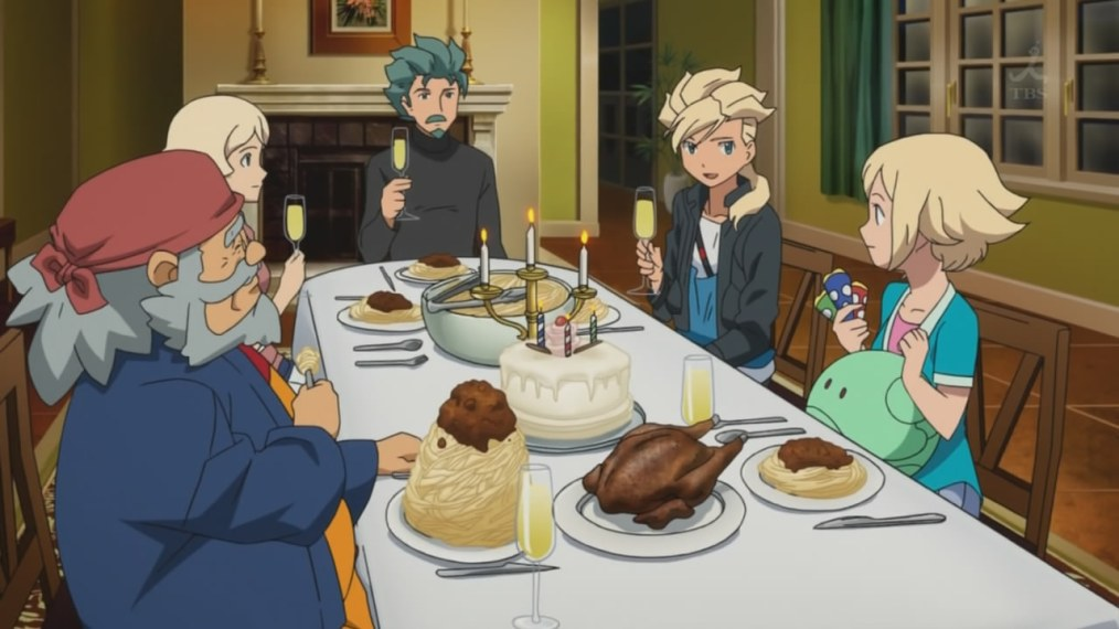 Spaghetti, chicken and birthday cake has got to be the best anime meal ever.